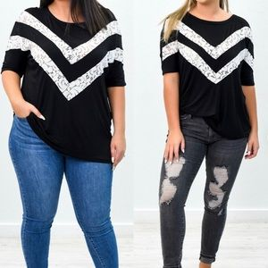 HEMLISH Black Top with White Lace Accents - NWT